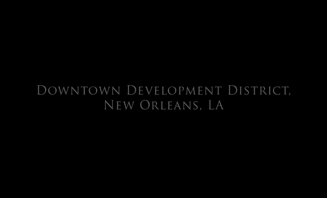 Downtown Development District, New Orleans, LA title page, and link to: public art: New Orleans Downtown Developement District Streetcar Shelter Project1