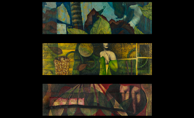 "image of body of three works: Equipoise Series, 2001-2002, mixed media collages (7"" x 21.75"" each), and link to: twodimensional: Equipoise2"