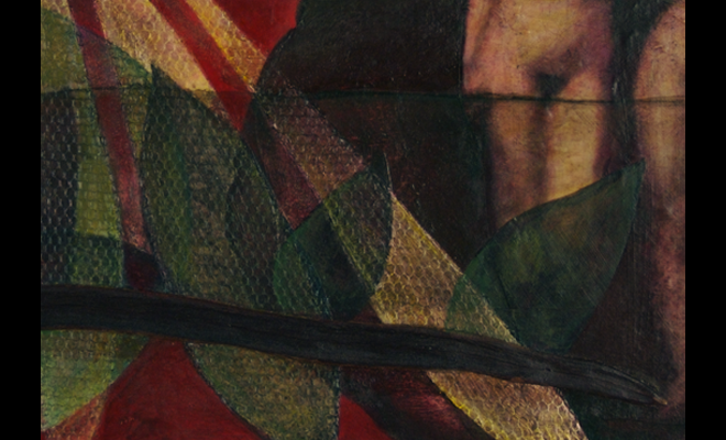 image: Equipoise II (detail), 2002, mixed media collage: appropriated imagery (acrylic transfers, dried organic matter, paper),   fabric, acrylic paint -- red and green, and link to: twodimensional: Wandering title page